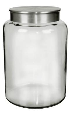 Anchor 95752 2.5-gal Mini Modern Montana Jar w/ Brushed Aluminum Metal Cover, Crystal