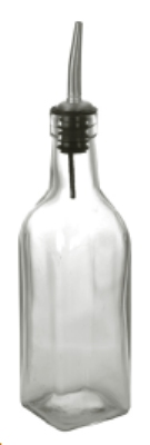 "Anchor 97026 9"" Vinegar Oil Bottle w/ Stainless Spout, Glass, Clear"