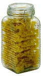 Anchor 98589 59-oz Ribbed Canister w/ Clamp Top Lid, Crystal