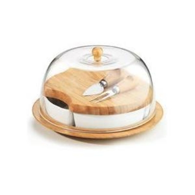 Anchor 98615 10-piece Serving Set w/ Chip Dip, Cheese Set, Acrylic Dome & Trays, Bamboo