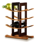 Anchor 98617 Wine Rack w/ 9-Bottle Capacity & Espresso Exterior, Bamboo