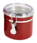 Anchor Hocking 98636 38 oz Round Clamp Powder Coated Steel Canister, Acrylic Lid, Red 98636