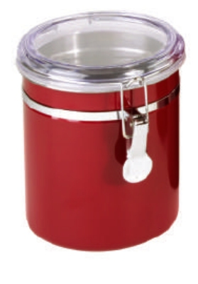 Anchor 98637 47-oz Round Canister w/ Clear Acrylic Clamp Top Lid, Red