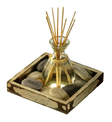 Anchor 98663 Reed Diffuser Garden w/ Glass Bottle, 50-ml Rain Scented Oil, 8-Reeds & Stones