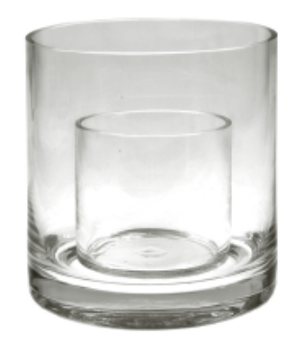 Anchor 98896 6-in Cylinder Vase w/ Candle Insert, Crystal