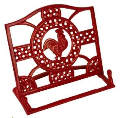 Anchor 98919 Cast Iron Cookbook Holder, Red Rooster Design