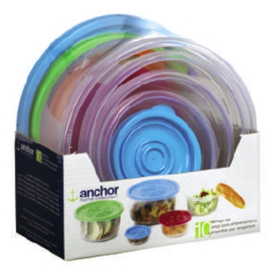 Anchor 98936 10-Piece Round Snap & Seal Seat w/ Multi Color Lids, BPA Free, Clear