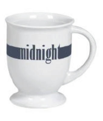 Anchor Hocking 98955 16 oz White Ceramic Cafe Mug with Color Stripe Midnight Restaurant Supply