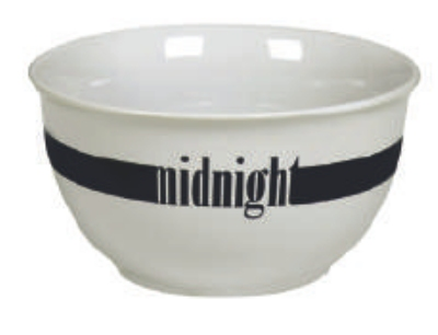 Anchor Hocking 98962 White Ceramic Cafe Bowl with Color Stripe Midnight Restaurant Supply