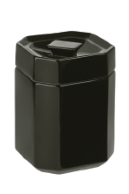 Anchor 98972 Octagon Shape Ceramic Canister, Lid, 5 x 5 x 6-7/8 in, Stackable, Black