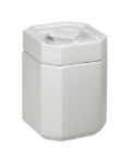 Anchor 98975 Octagon Shape Ceramic Canister, 5 x 5 x 6-7/8 in, Stackable, White