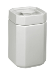 Anchor 98976 Stackable Octagon Canister w/ Lid & 5x5x8-in, Ceramic, White