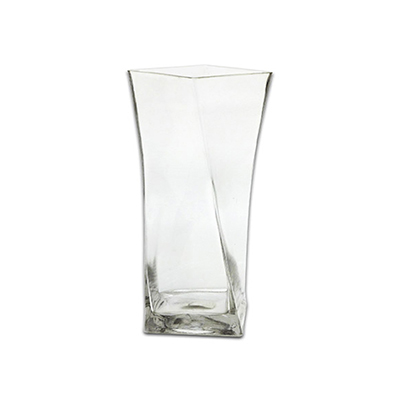"Anchor 99146 10"" Square Twisted Vase, Crystal"