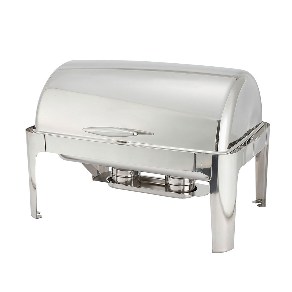 winco 601 full size chafer w rolltop lid u0026 chafing fuel heat