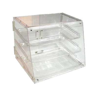 Winco ADC-3 Counter Top Display Case w/ (3) 12 x 18-in Trays, 21 x 18 x 16.5-in, Clear
