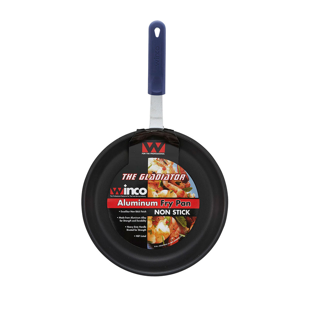 "Winco AFP-10XC-H 10"" Aluminum Frying Pan w/ Solid Silicone Handle"