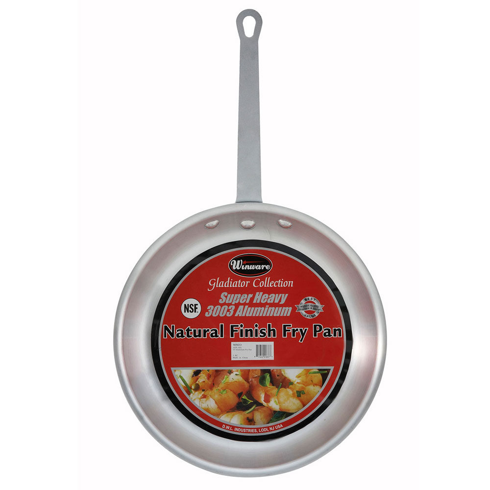 "Winco AFP-8A 8"" Aluminum Frying Pan w/ Solid Metal Handle"