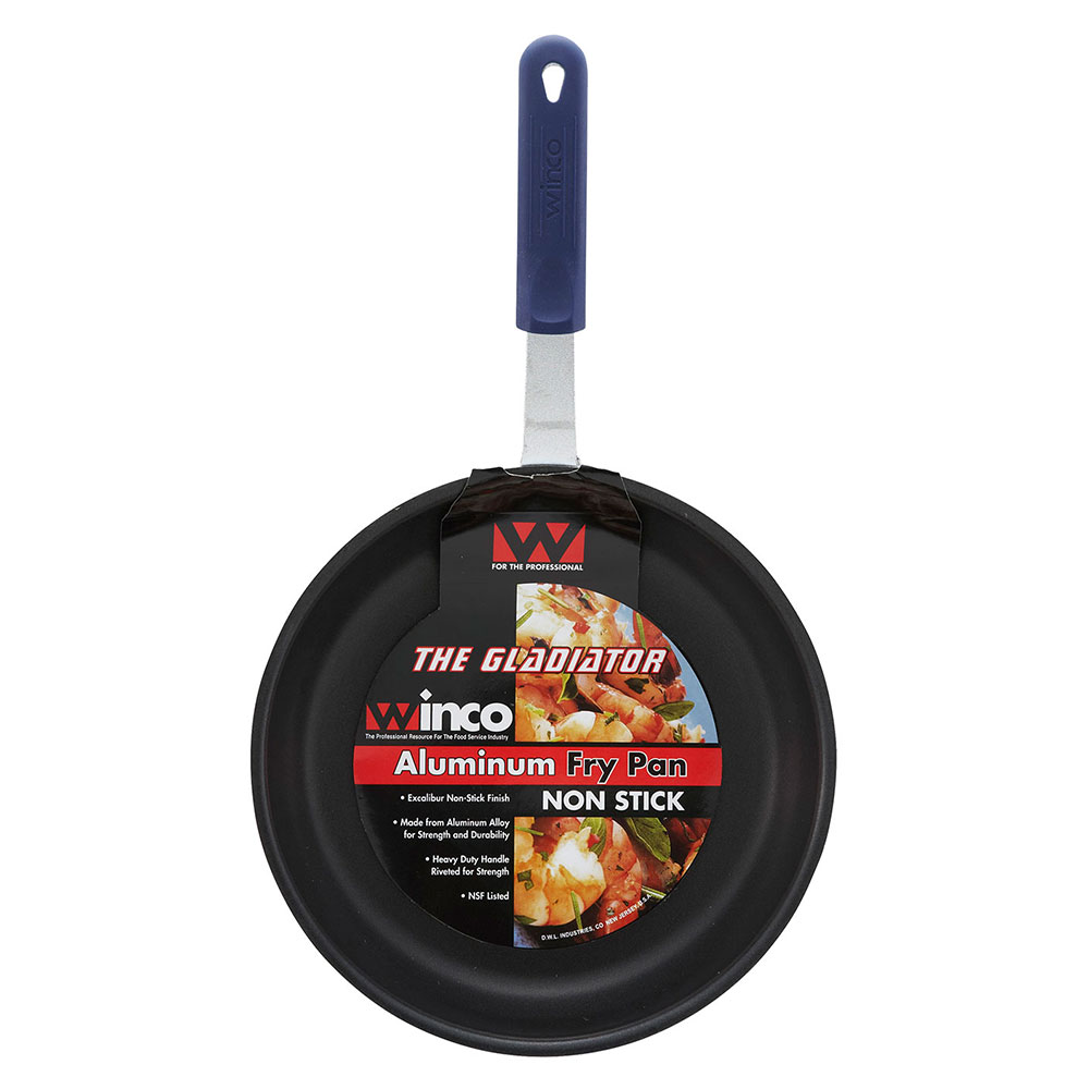 """Winco AFP-8XC-H 8"""" Aluminum Frying Pan w/ Solid Silicone Handle"""