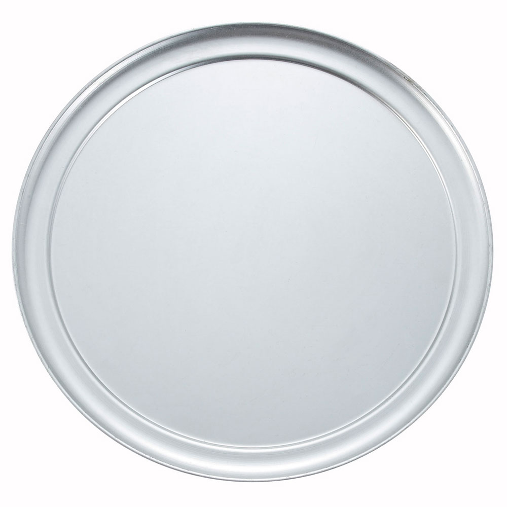 "Winco APZT-13 13"" Round Wide Rim Pizza Pan, Aluminum"