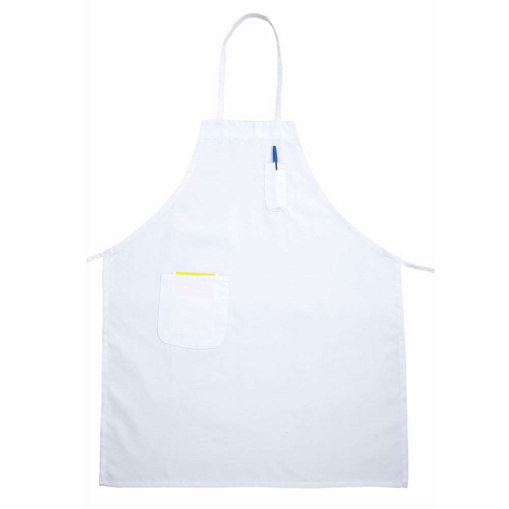 "Winco BAPWH Bib Apron w/ Pocket, 31 x 26"", White"