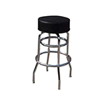"Winco BC-1K 29-1/2"" Bar Stool - 2-Ring Frame, Black Vinyl Pad Seat"