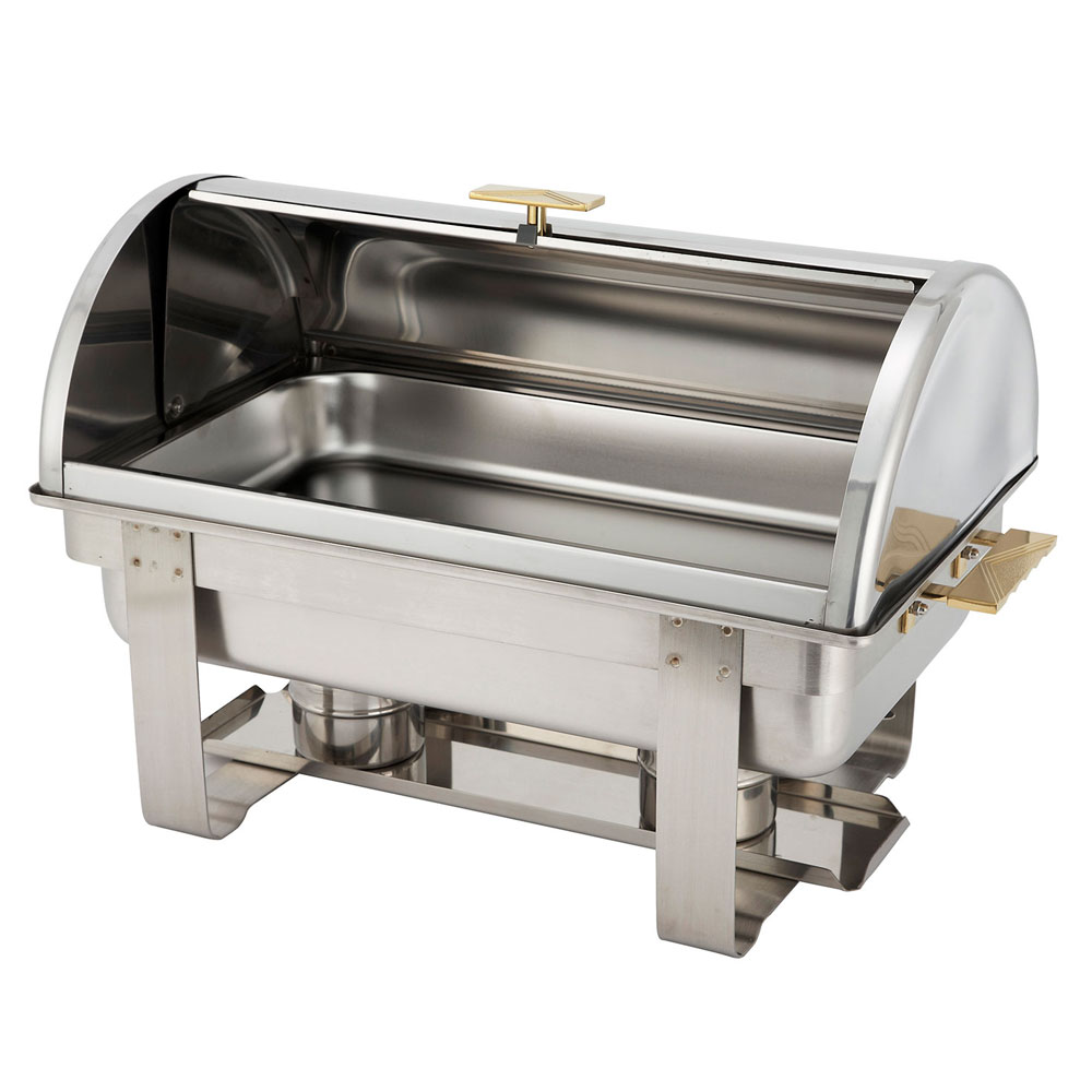 Winco C-5080 Dallas Chafer 8 qt, Full Size, Stainless Steel w/ Gold Accents, Roll Top