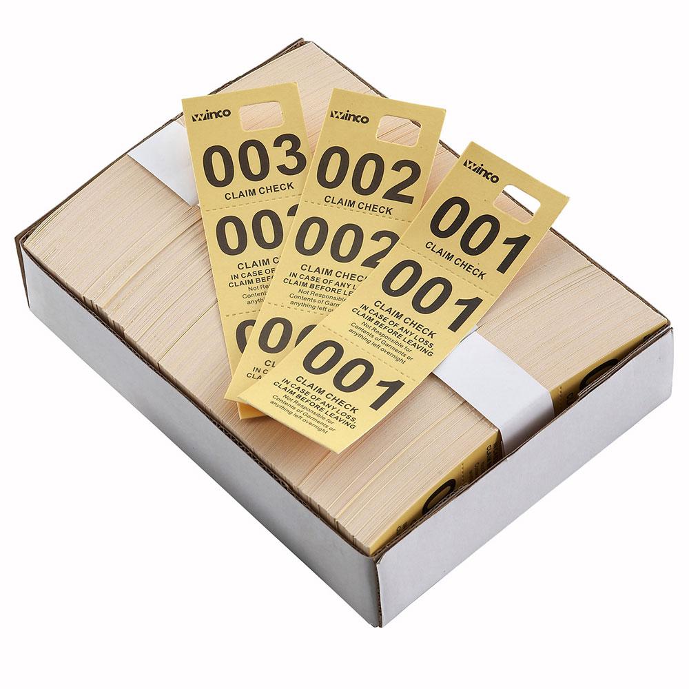 Winco CCK-5YL Coat Check, Yellow (500 pieces per box)