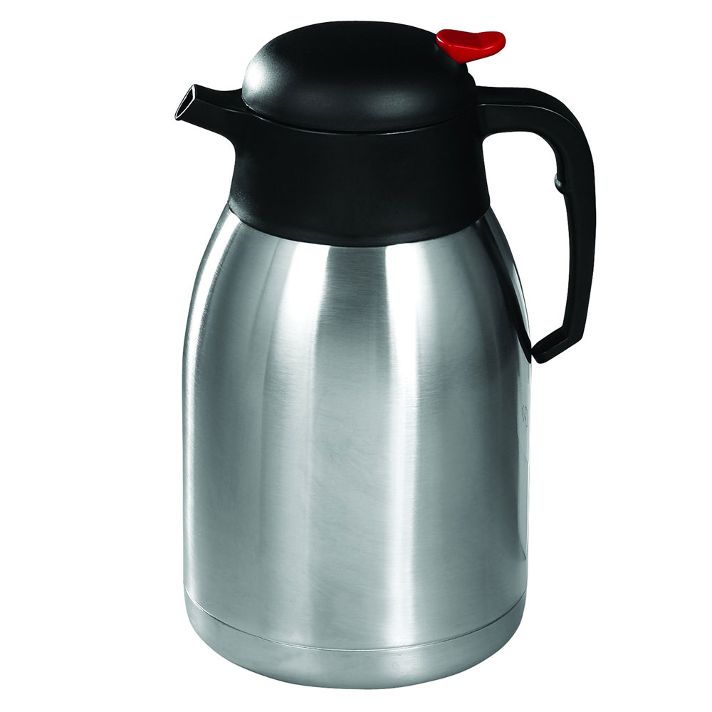 Winco CF-2.0 2-L Carafe w/ Black & Red Push Button Top, Stainless