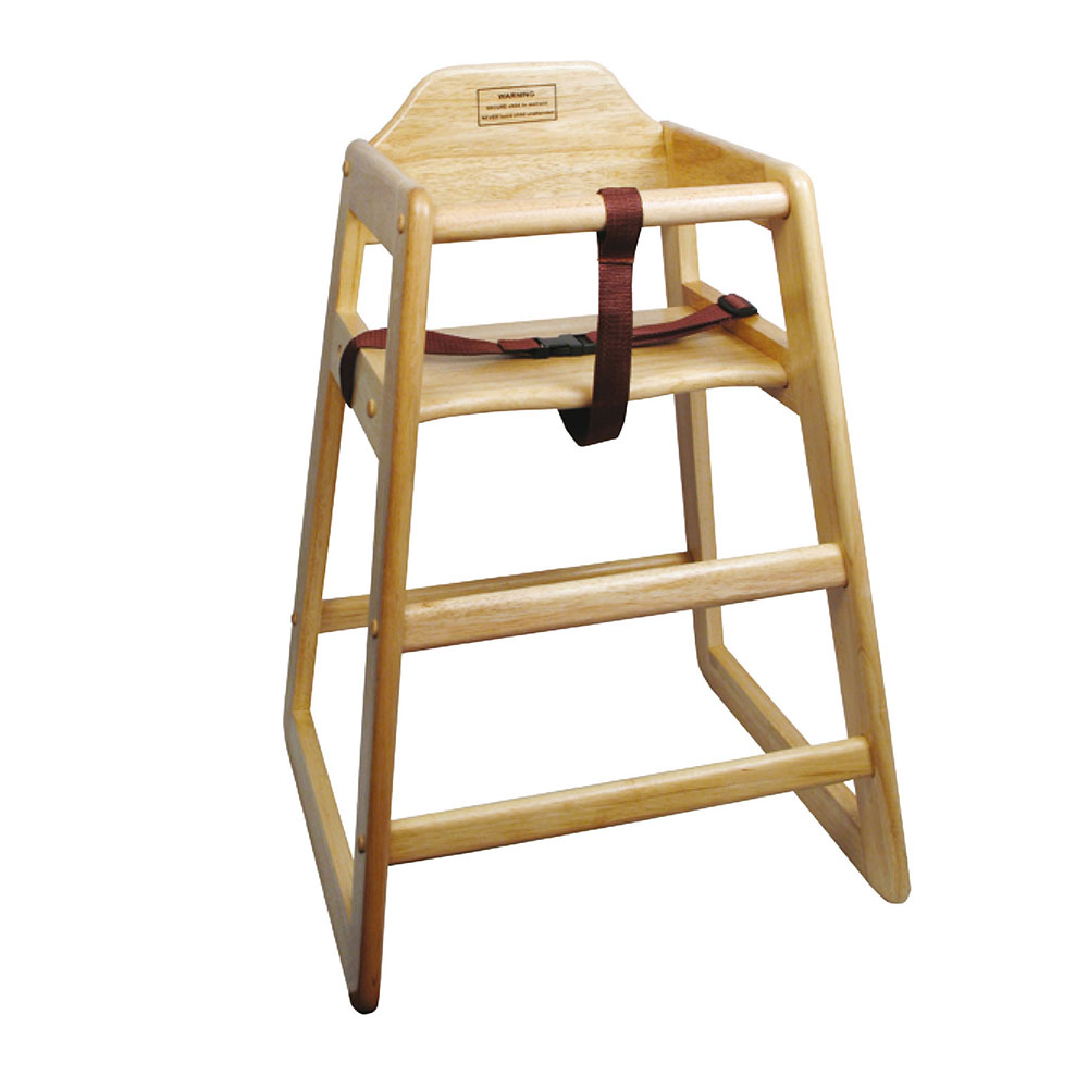 Winco CHH101A Stacking Hi-Chair w/ Natural Wood Finish, Assembled