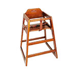 "Winco CHH-104 29.75"" Stackable High Chair w/ Waist Strap - Wood, Walnut"