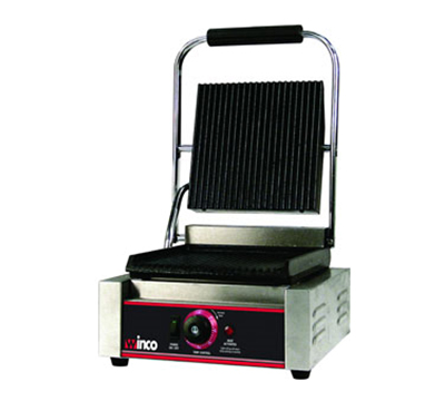 Winco EPG-1 Commercial Panini Press w/ Cast Iron Grooved Plates, 120v