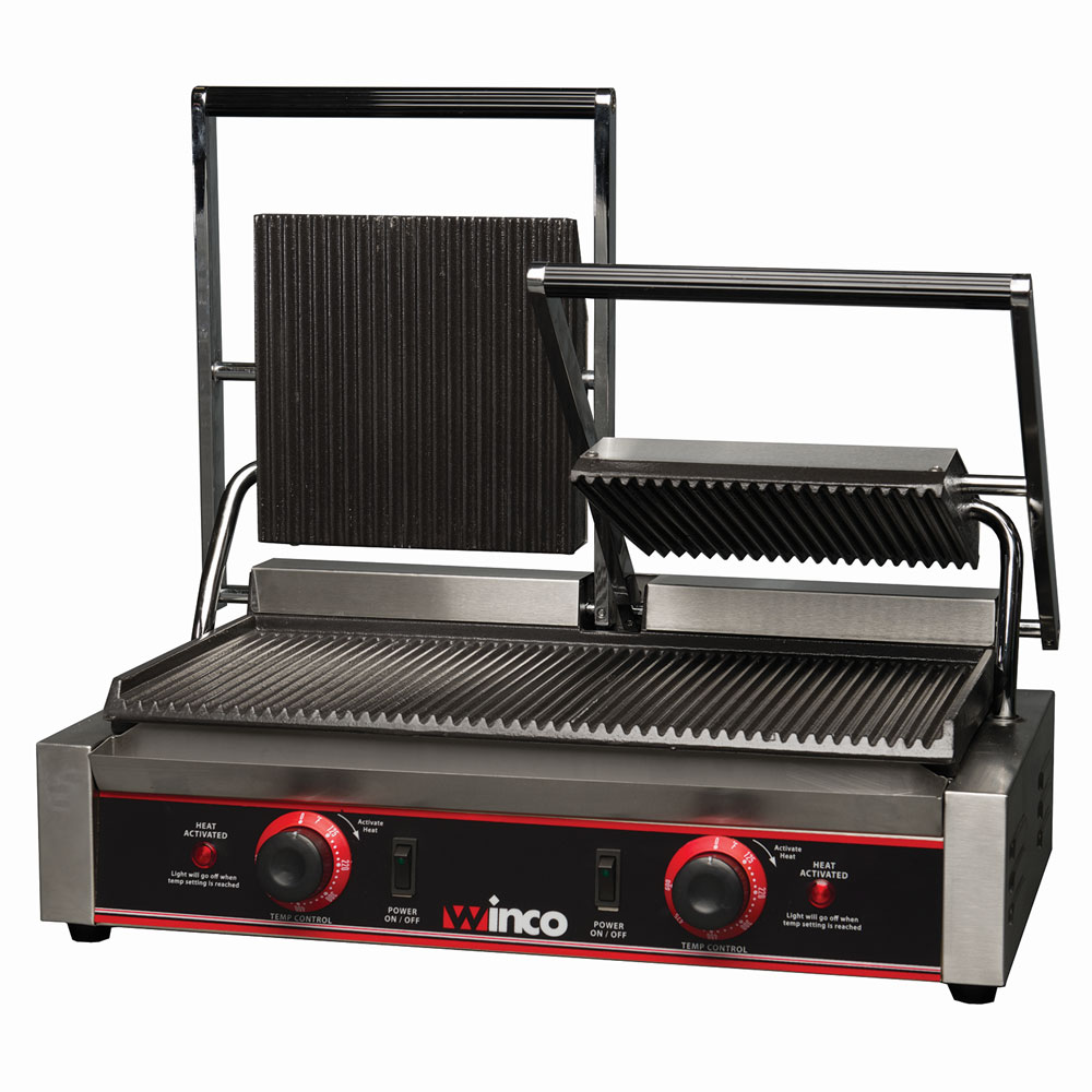 Winco EPG-2 Double Commercial Panini Press w/ Cast Iron Grooved Plates, 120v