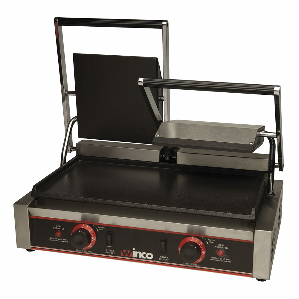 Winco ESG-2 Double Commercial Panini Press w/ Cast Iron Smooth Plates, 120v