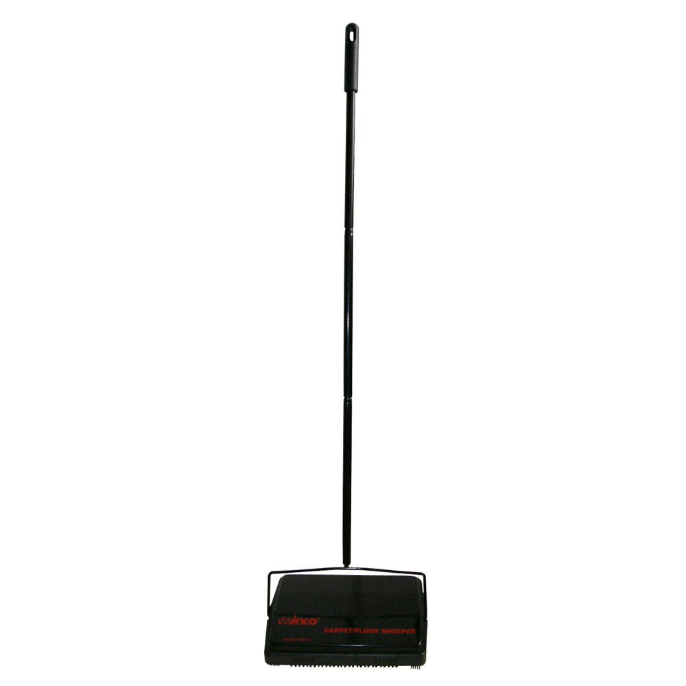 "Winco FSW-11 Rotary Carpet Sweeper w/ Steel Handle & Natural Bristles, 3.5 x 4 x 8"""