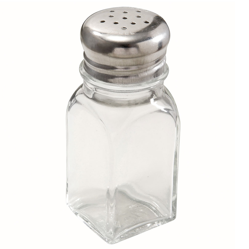 "Winco G-109 3.9"" Salt/Pepper Shaker w/ Metal Lid, Square"