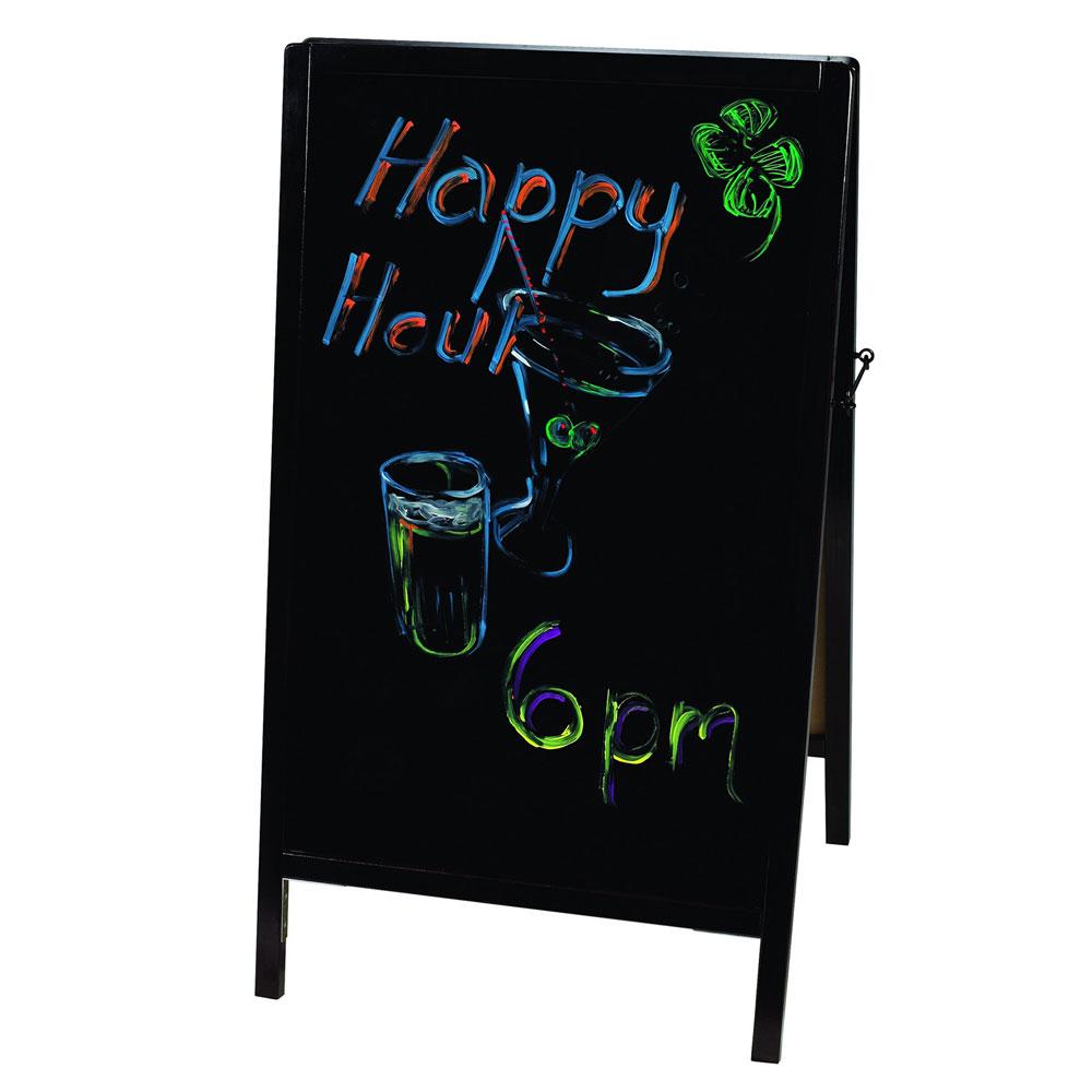 Winco MBAF-4 Sidewalk Marker Board w/ Pine Frame, (6) Markers & (1) Eraser, Mahogany