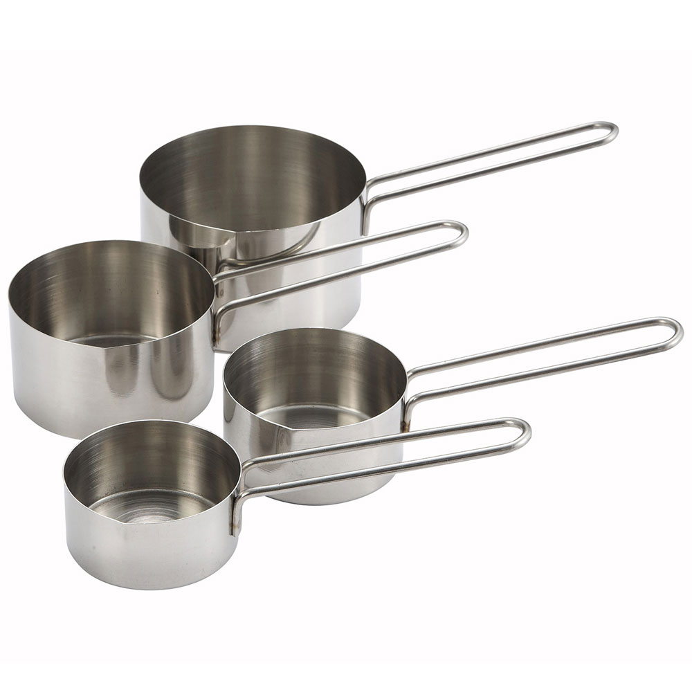 Winco MCP-4P 4-Piece Measuring Cup Set, Stainless