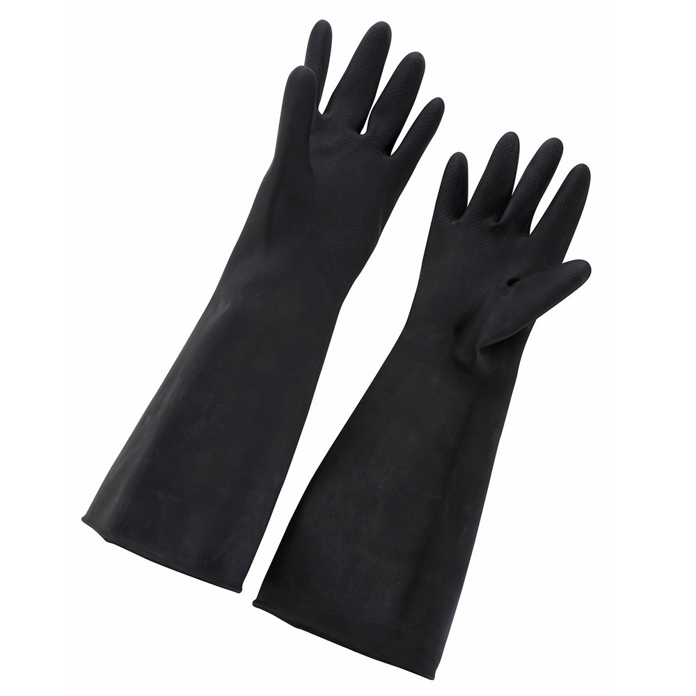 """Winco NLG-1018 Large Natural Latex Gloves, 10 x 18"""", Black"""