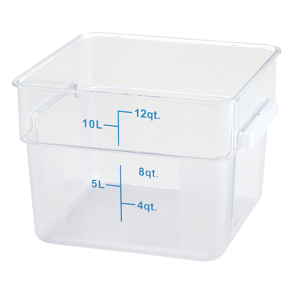 Winco PCSC-12C 12-qt Square Storage Container, Polycarbonate, Clear