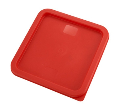 Winco PECC68 Square Cover for 6 & 8-qt Storage Containers, Polyethylene, Red