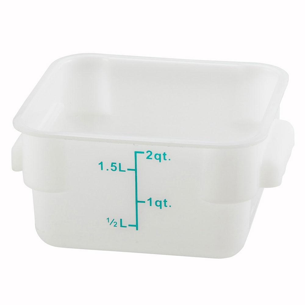 Winco PESC-2 2-qt Square Storage Container, Polyethylene, White