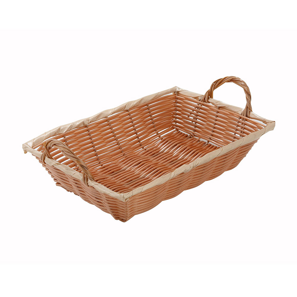 "Winco PWBN-12B Oblong Woven Basket w/ Handle, 12 x 8 x 3"", Poly, Natural"