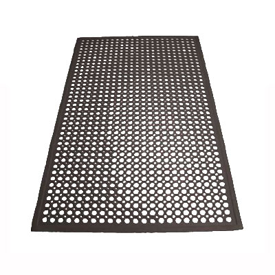 "Winco RBM-35K Anti-Fatigue Floor Mat w/ Beveled Edges, Rubber, 3 x 5 x .5"", Black"
