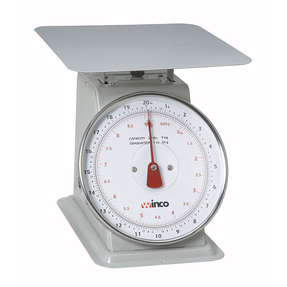 """Winco SCAL-820 20 lb Receiving Scale, 8"""" Dial, Large Steel Platform"""