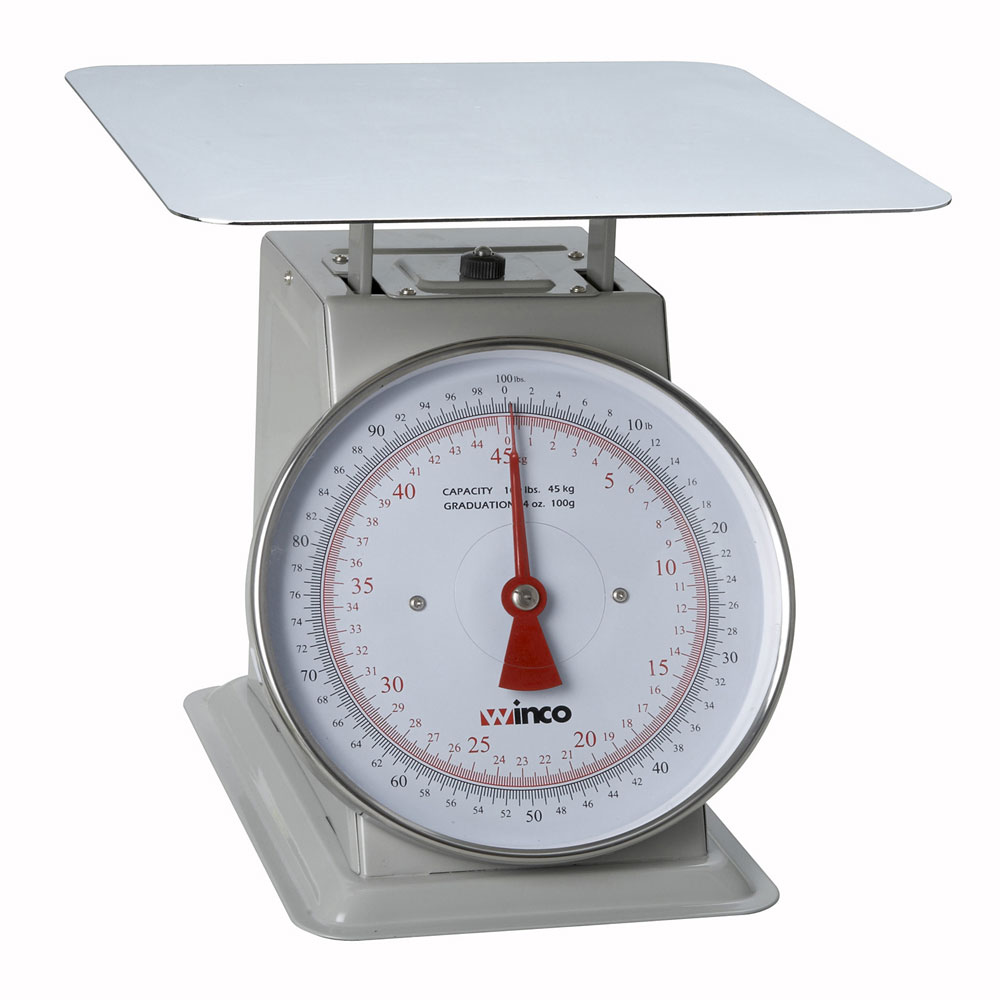 """Winco SCAL-9100 100 lb Receiving Scale, 9"""" Dial, Large Steel Platform"""