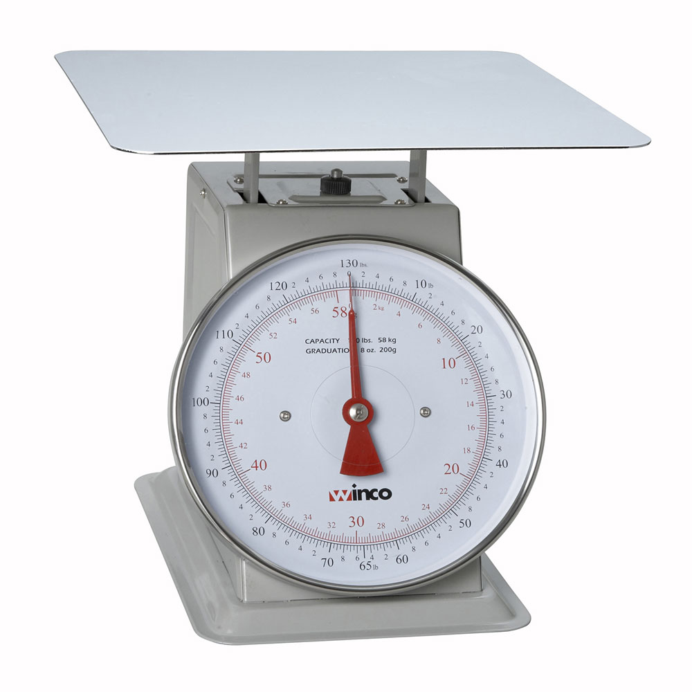 """Winco SCAL-9130 130 lb Receiving Scale, 9"""" Dial, Large Steel Platform"""