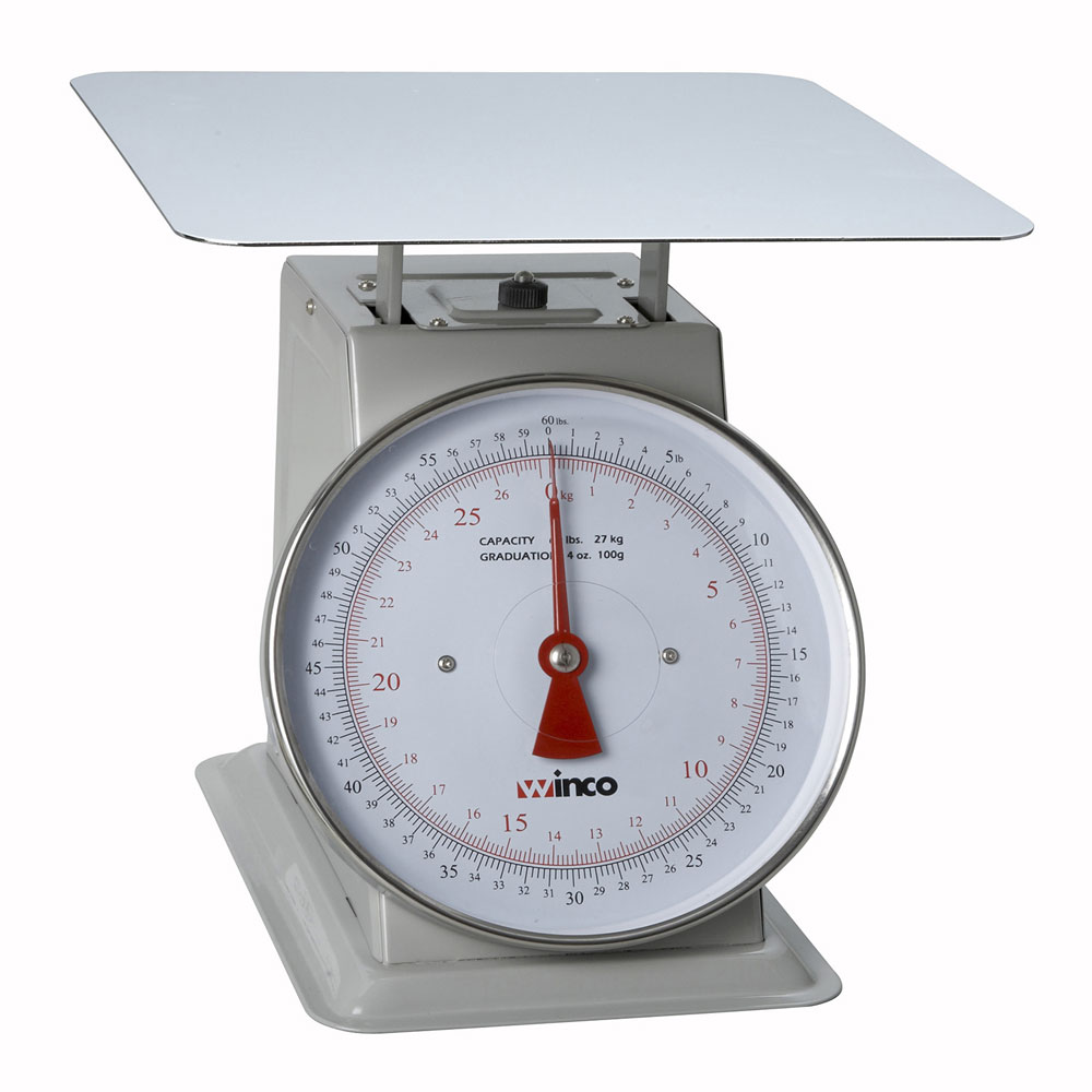 "Winco SCAL-960 60 lb Receiving Scale, 9"" Dial, Large Steel Platform"