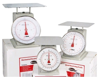 "Winco SCAL-9130 130 lb Receiving Scale, 9"" Dial, Large Steel Platform"