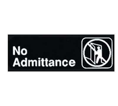 "Winco SGN-331 No Admittance Sign - 3x9"", Black"
