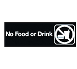 "Winco SGN-333 No Food or Drink Sign - 3x9"", Black"